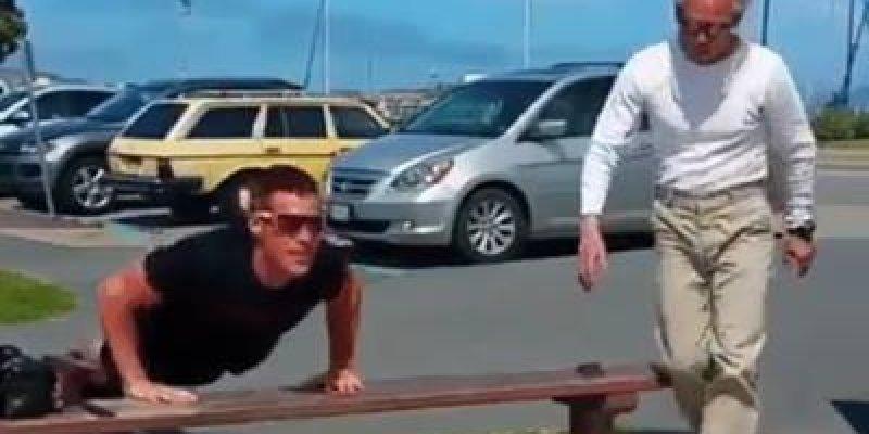 Idoso humilhando rapaz nas flexões, compartilhe com seus amigos!
