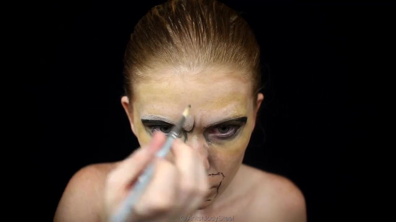 Fabuloso Arte de pintar o rosto de forma fenomenal, olha só este zumbi!!! FA97