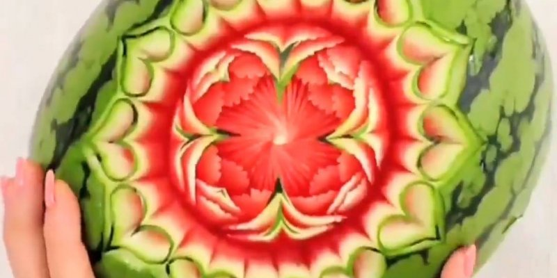 Famosos Obra de arte em melancia, veja que lindo trabalho digno de  CP94