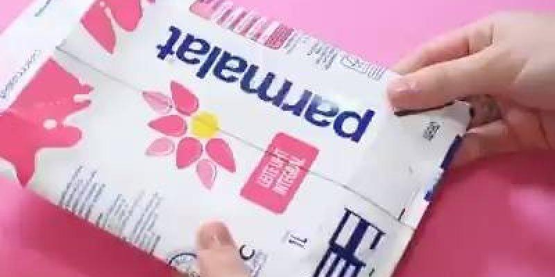 Carteira Galáxia feita com caixa de leite, o resultado é lindo!