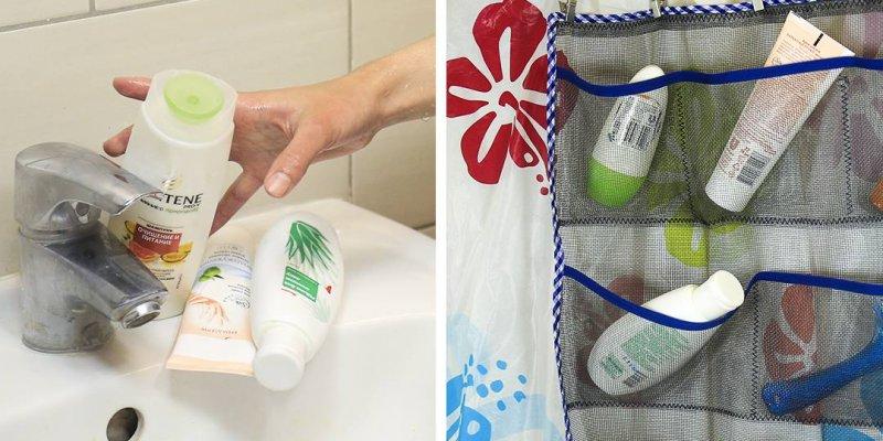 Como guardar shampoos, cremes, escovas no banheiro pendurado com a sua cortina!